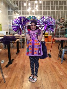 Check out our awesome student Petra with her electric cheerleader costume, with spinning pom poms that she made as part of our costume class! So amazing!